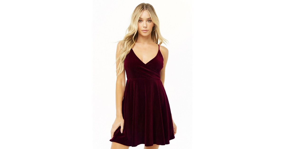 f304af8b93 Lyst - Forever 21 Ribbed Velvet Fit   Flare Dress in Purple