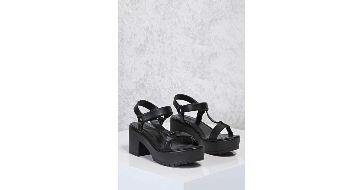 Forever 21 Chunky Platform Sandals in Black - Lyst