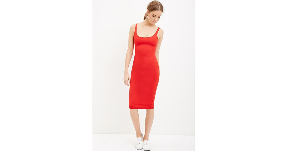 8931782feb Lyst - Forever 21 Scoop Neck Bodycon Dress in Red
