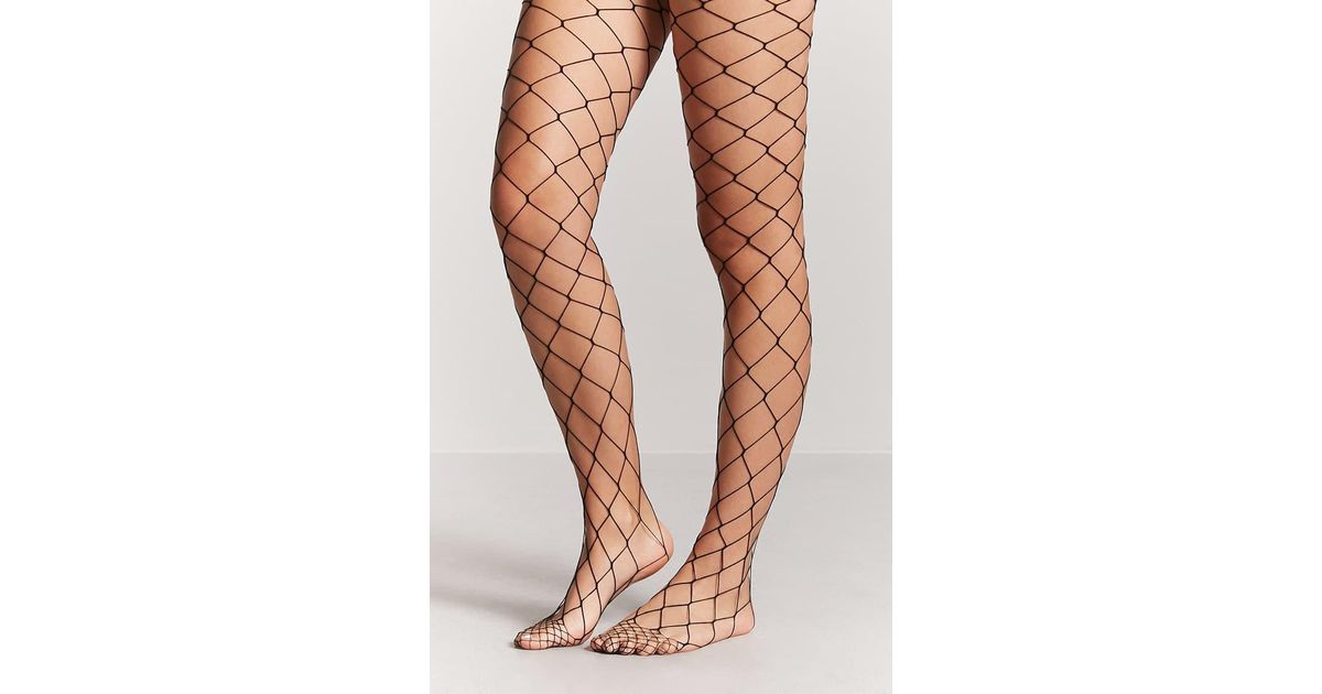 41e63fb921c Forever 21 Oversized Fishnet Tights in Black - Lyst