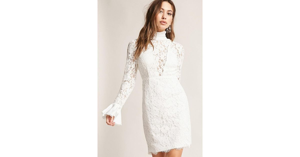 9169c3541ce Forever 21 Dark Pink High-neck Ruffle Lace Dress in White - Lyst
