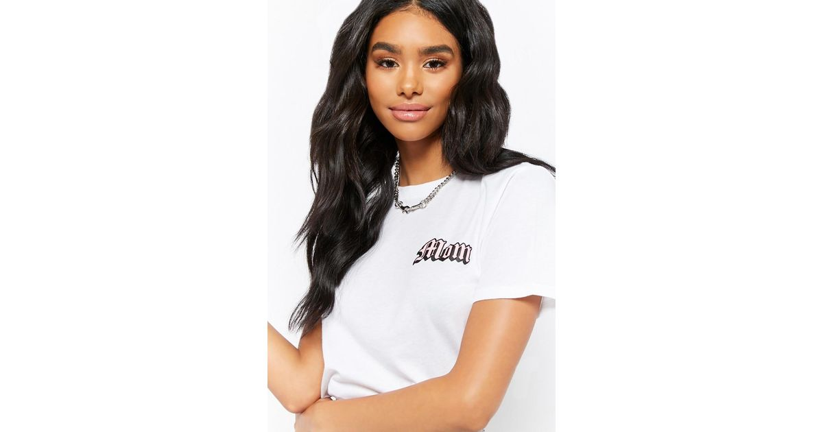 5f5a5e38d3423b Forever 21 Mom Graphic Tee in White - Lyst