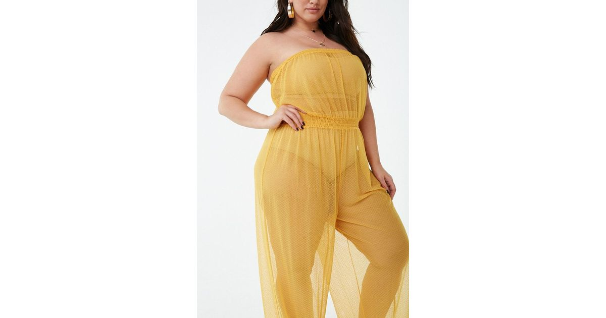 674c00564d2 Forever 21 Women's Plus Size Sheer Swim Cover-up Jumpsuit in Yellow - Lyst