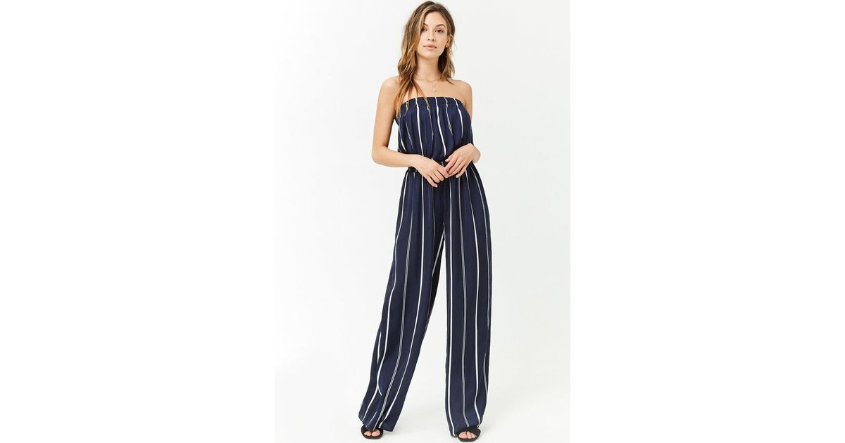 fast delivery amazing price new product Forever 21 Blue Satin Striped Strapless Jumpsuit
