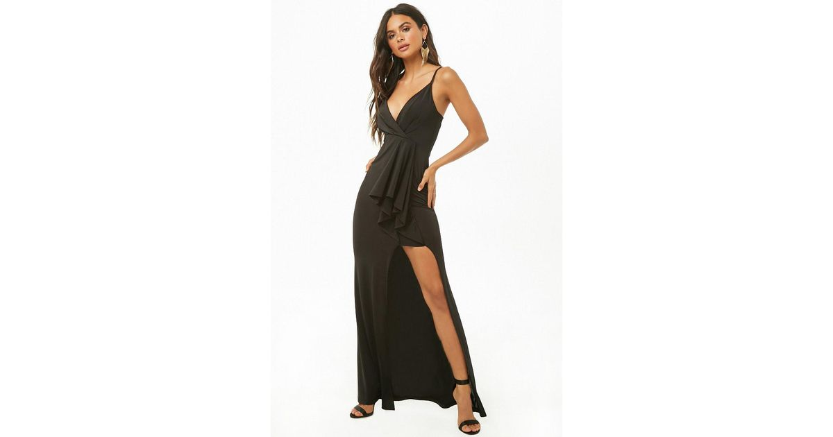 Lyst Forever 21 Surplice Maxi Slit Dress In Black