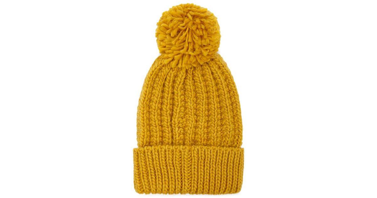 Lyst - Forever 21 Pom Pom Knit Beanie in Yellow 9eccf98bb80