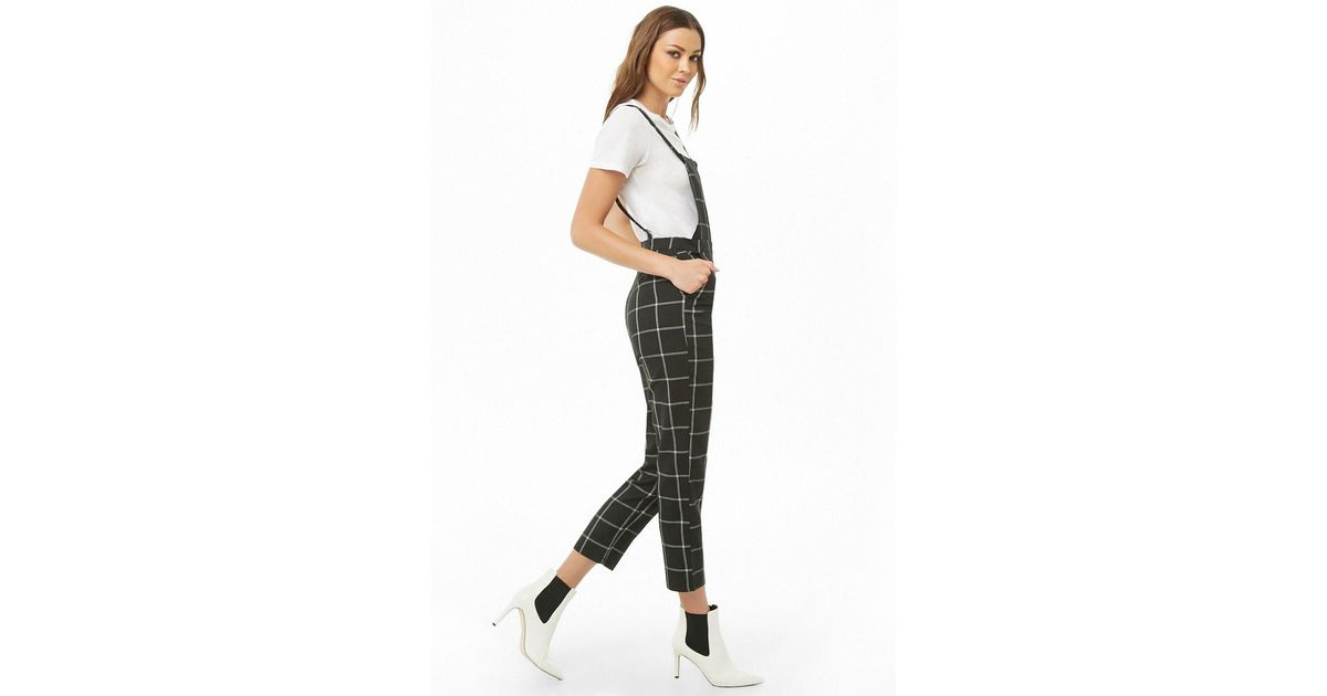 classic shoes special discount of designer fashion Forever 21 Grid Straight-leg Overalls , Black/white