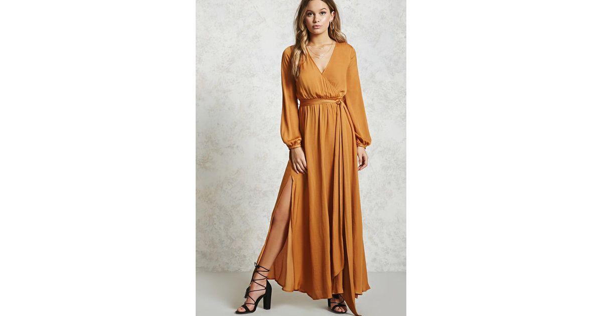 b2de88a745c Forever 21 Belted Surplice Maxi Dress - Lyst