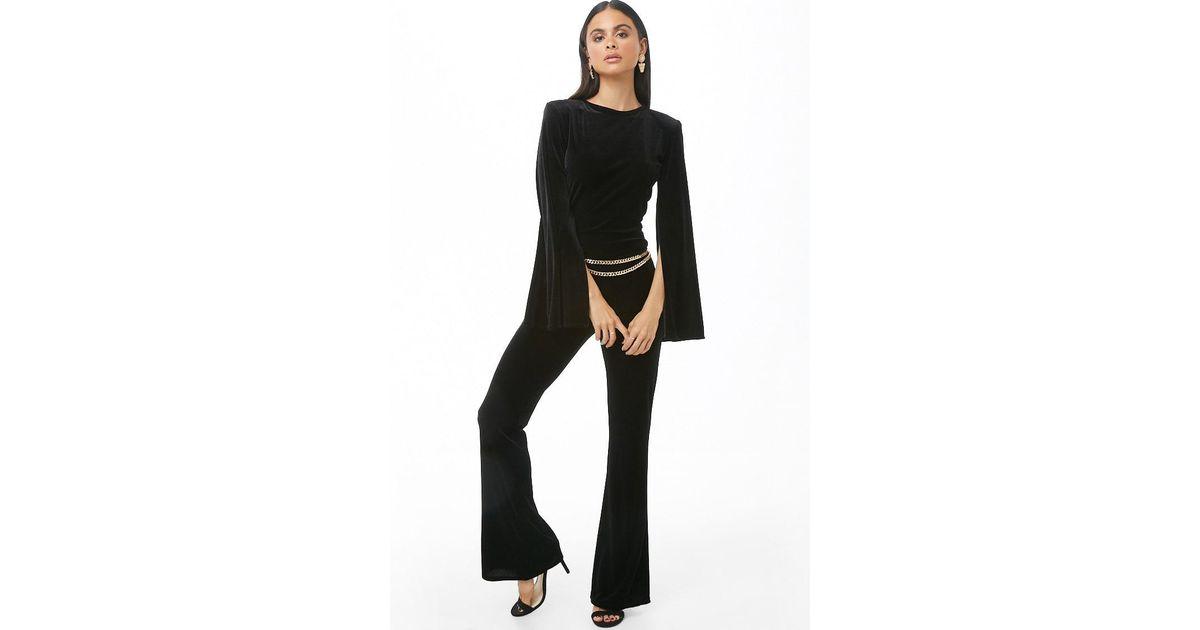 0e06f971d7a1 Lyst - Forever 21 Velvet Split-sleeve Jumpsuit in Black