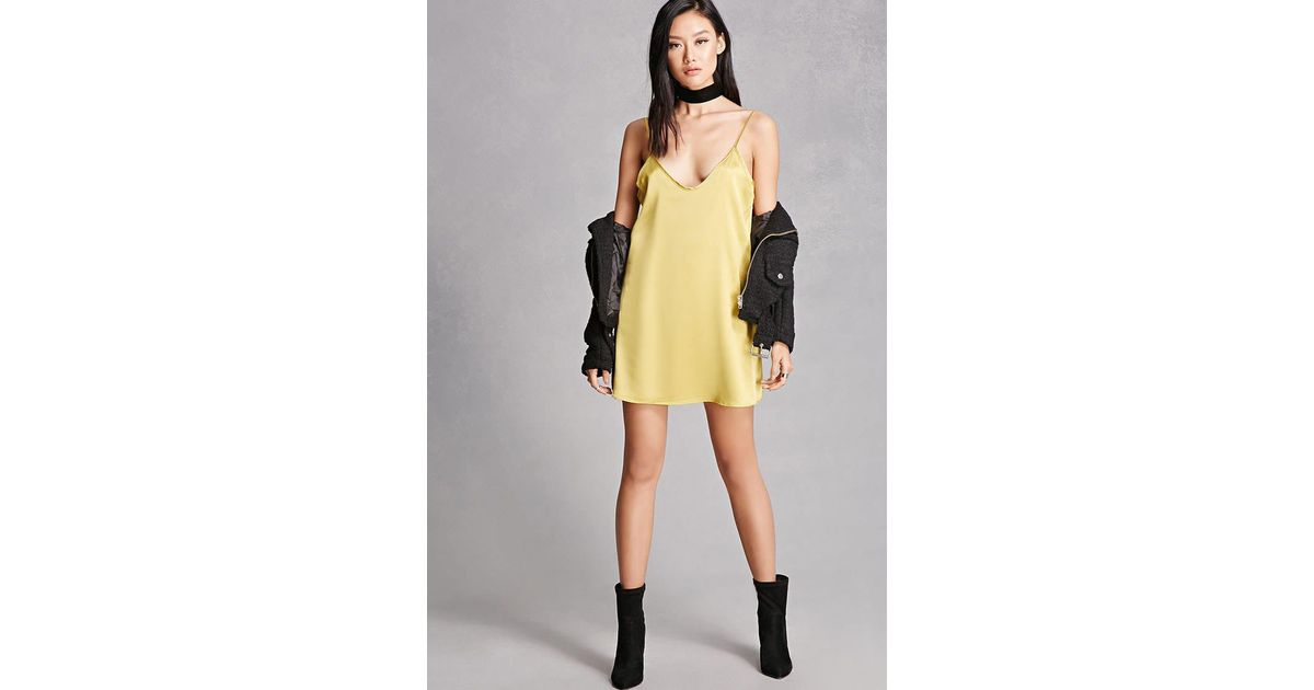 c74eb12aa239 Forever 21 Satin Slip Dress in Yellow - Lyst