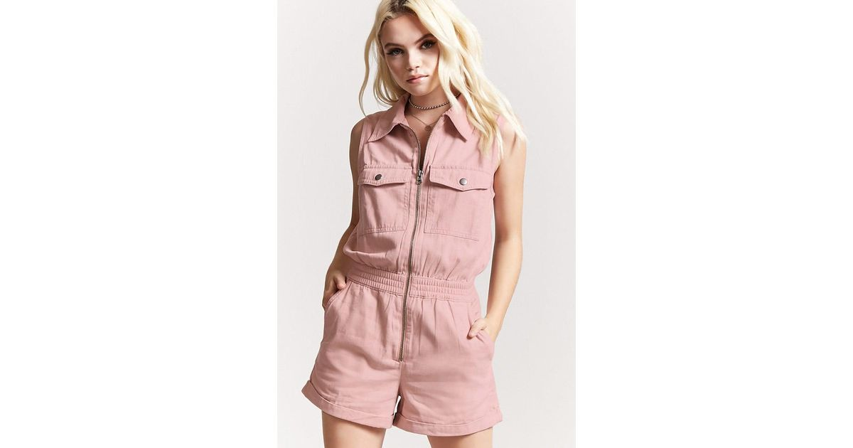 2206964a974 Forever 21 Twill Zip-front Cargo Romper in Pink - Lyst