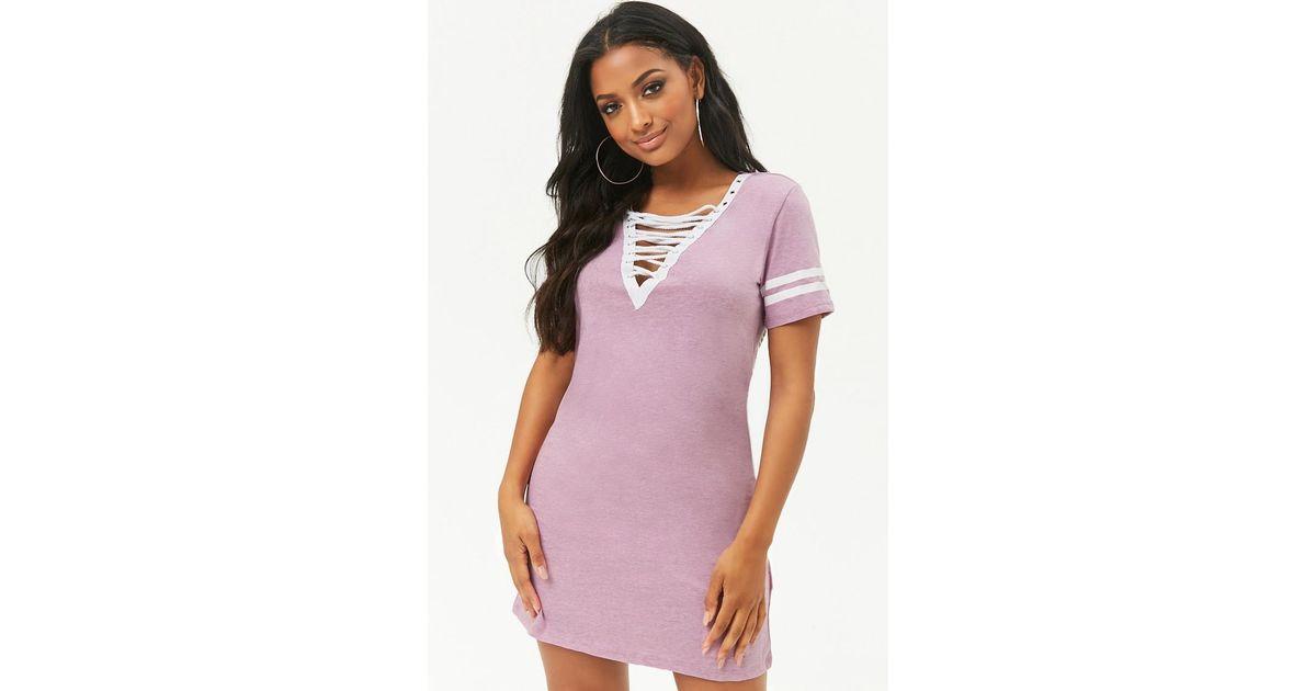 41d32f65e333d Lyst - Forever 21 Varsity-striped T-shirt Dress