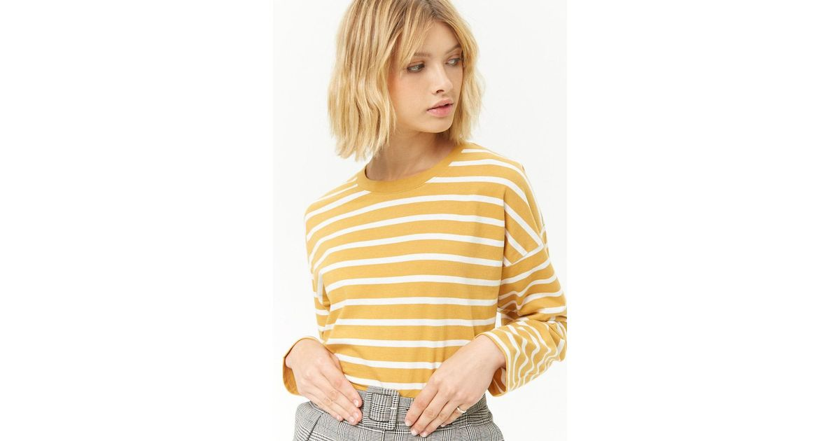 8515b010b3 Forever 21 Women's Striped Crew Long Sleeve Top - Lyst