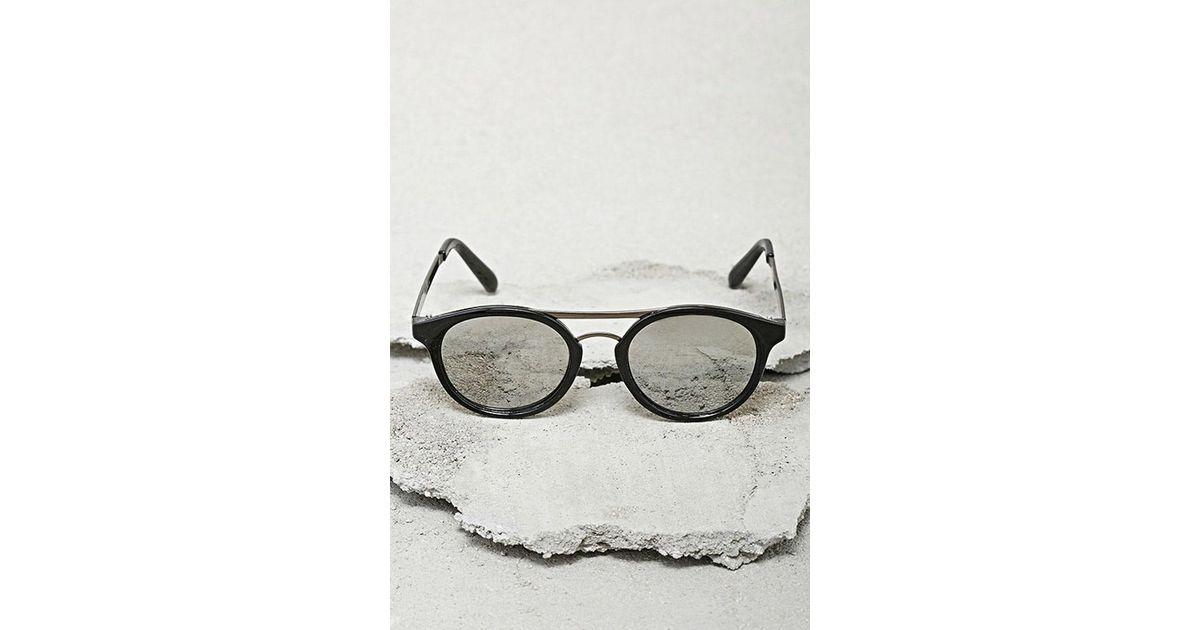 366bb3e12 Forever 21 Men Mirrored Round Sunglasses in Black for Men - Lyst