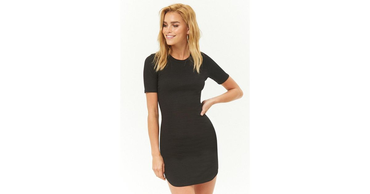 9bca2280 Lyst - Forever 21 Women's Ribbed Bodycon T-shirt Dress in Black