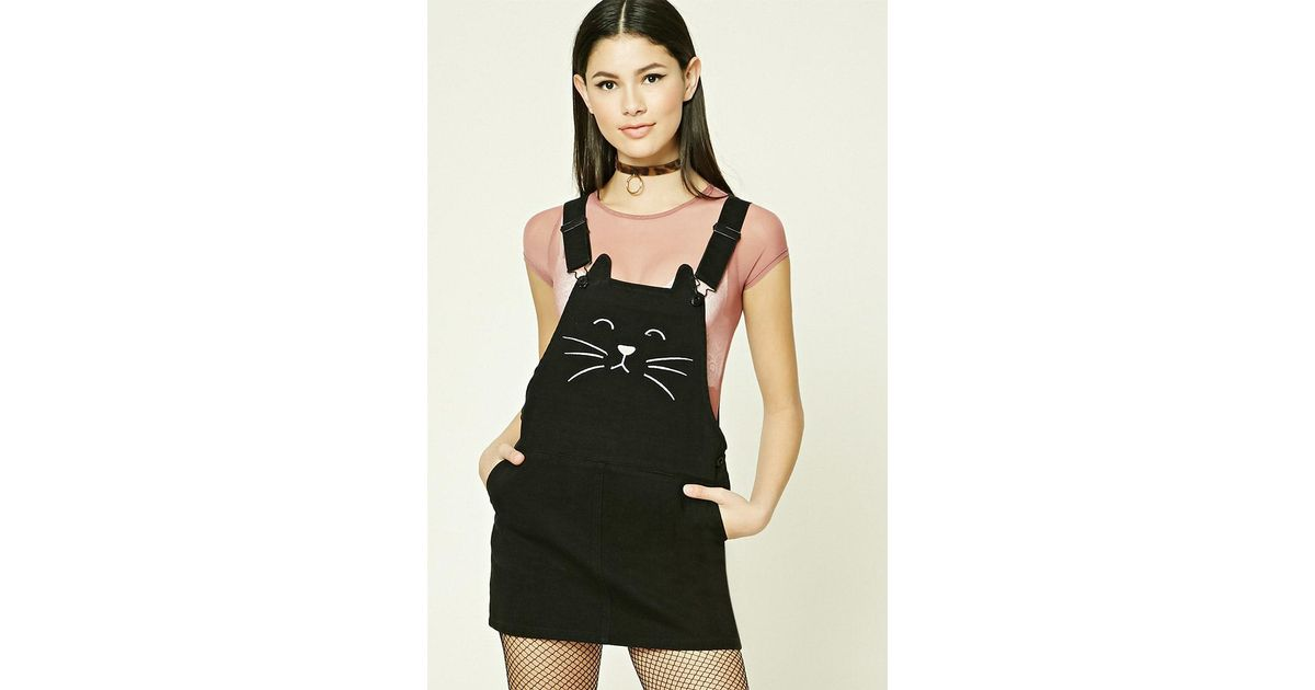 78c8a9d430 Lyst - Forever 21 Embroidered Cat Overall Dress in Black