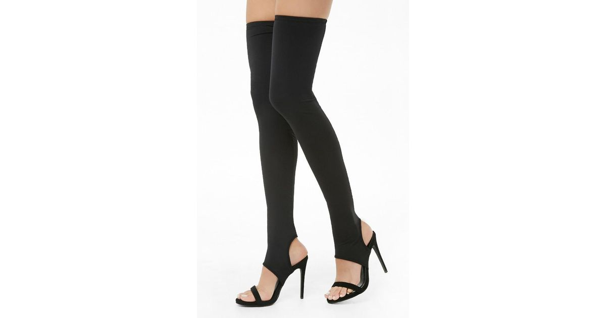 ce5c5649d3 Forever 21 Shoe Republic Contrast Over-the-knee Heels in Black - Lyst