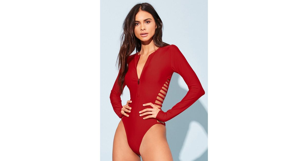 99b80dd837c Forever 21 Ladder Cutout One-piece Swimsuit in Red - Lyst