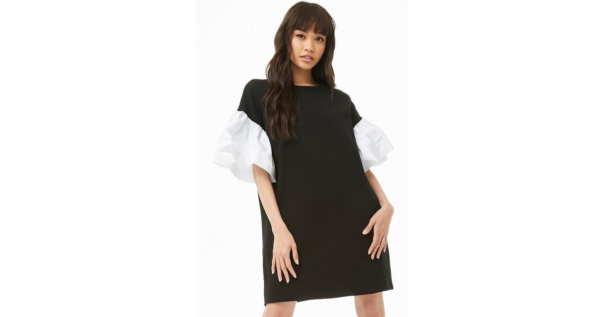 bef7270d32f8 Forever 21 Puff-sleeve Sweatshirt Dress in Black - Lyst