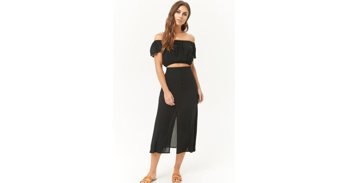 15c1e1bc7ff Lyst - Forever 21 Clip Dot Crop Top   Skirt Set in Black