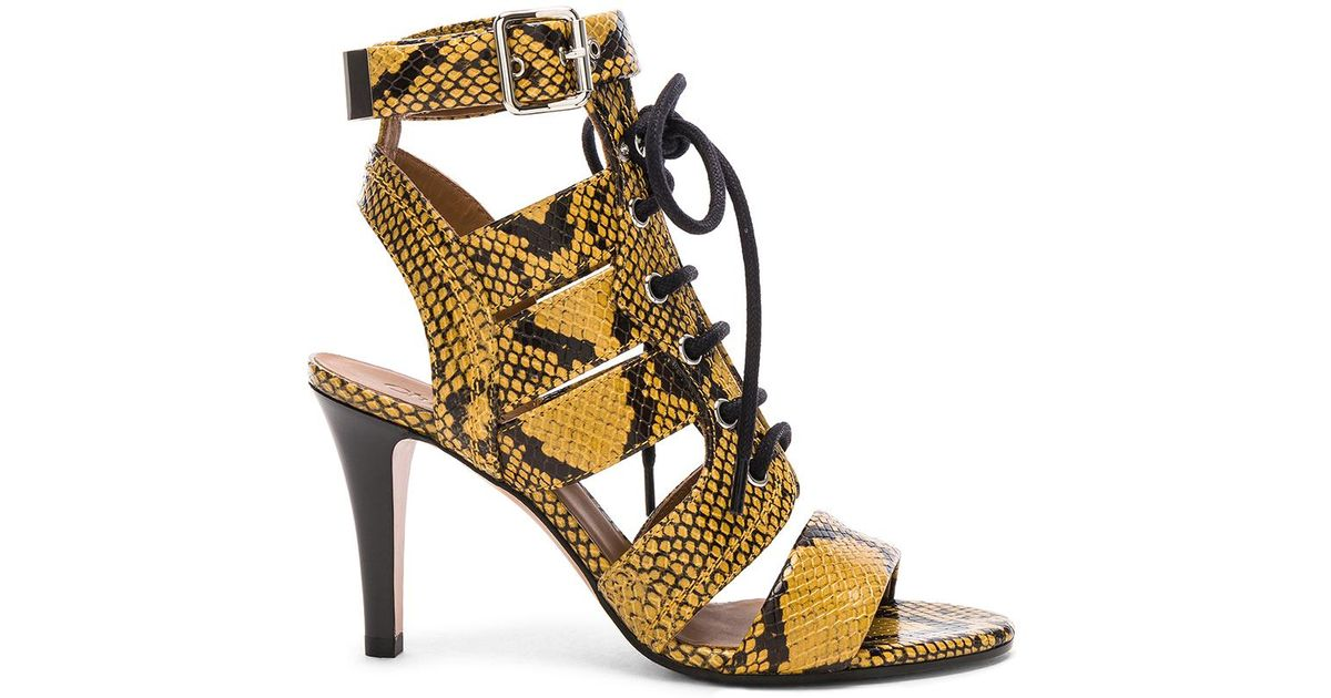 cd5935ff6133 Chloé Rylee Python Print Leather Lace Up Sandals - Lyst
