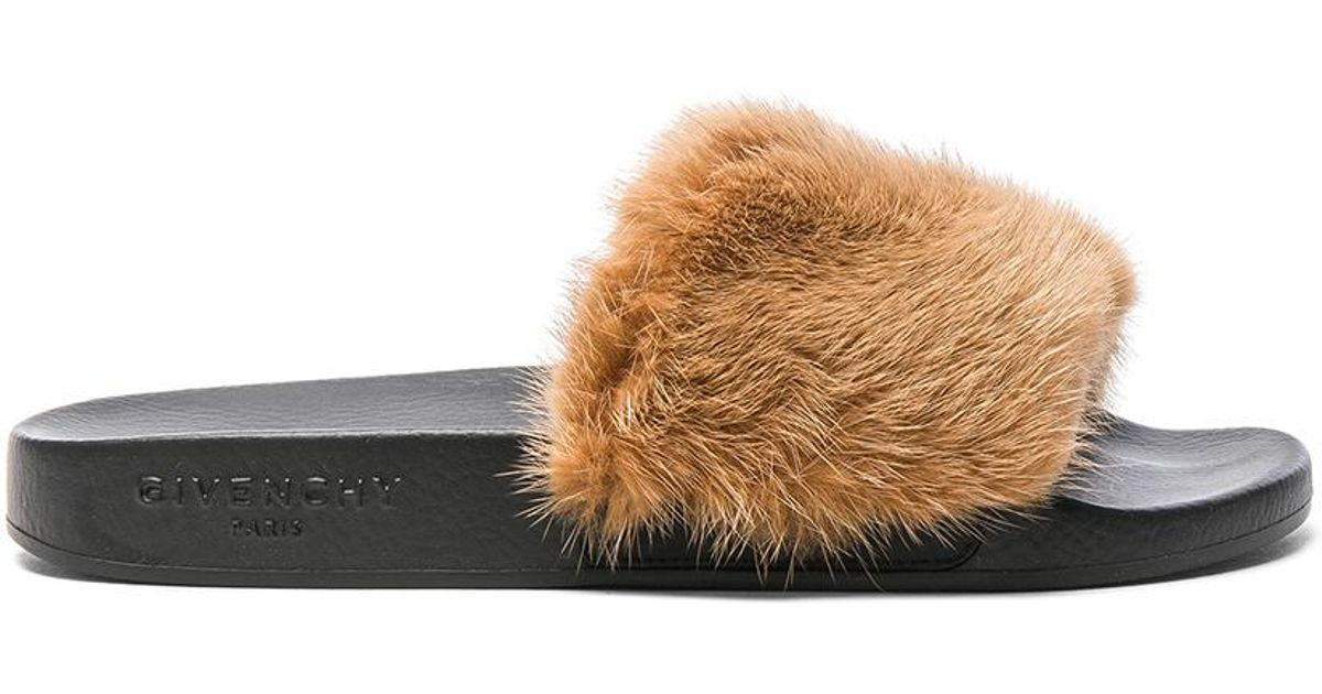 lyst givenchy mink fur slides in brown
