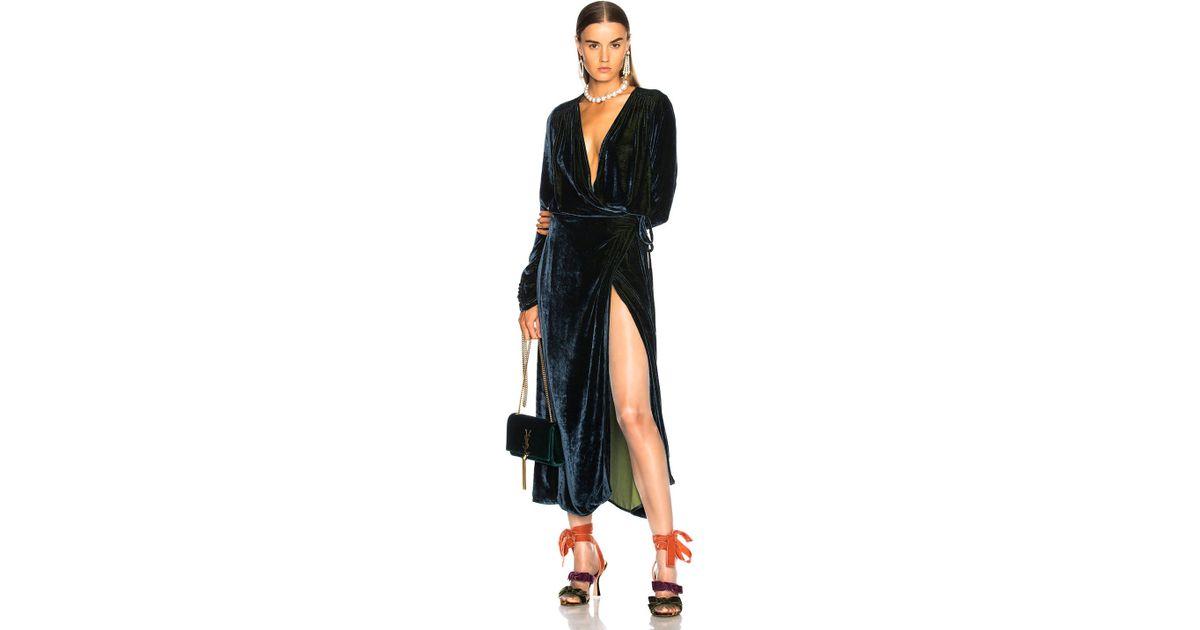 Lyst Attico Victoria 3 Velvet Robe Dress In Blue
