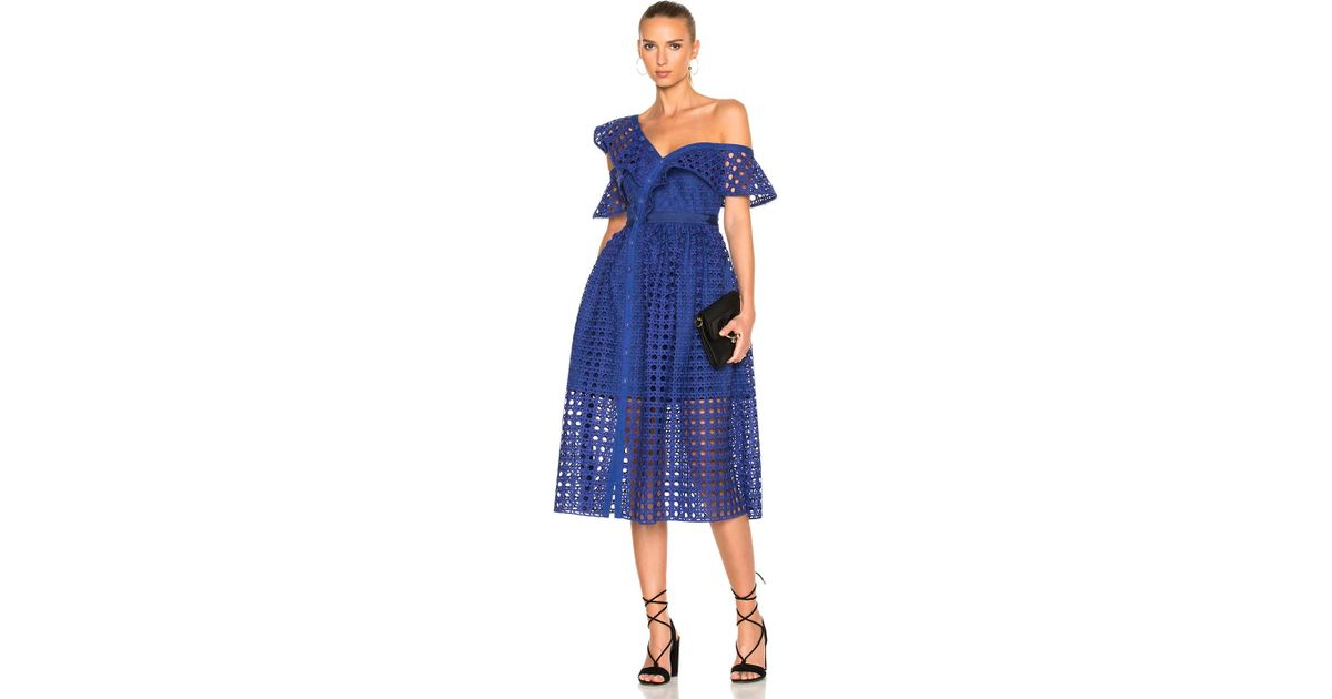 b54e540581a5 Self-Portrait Guipure Frill Dress In Cobalt Blue in Blue - Lyst
