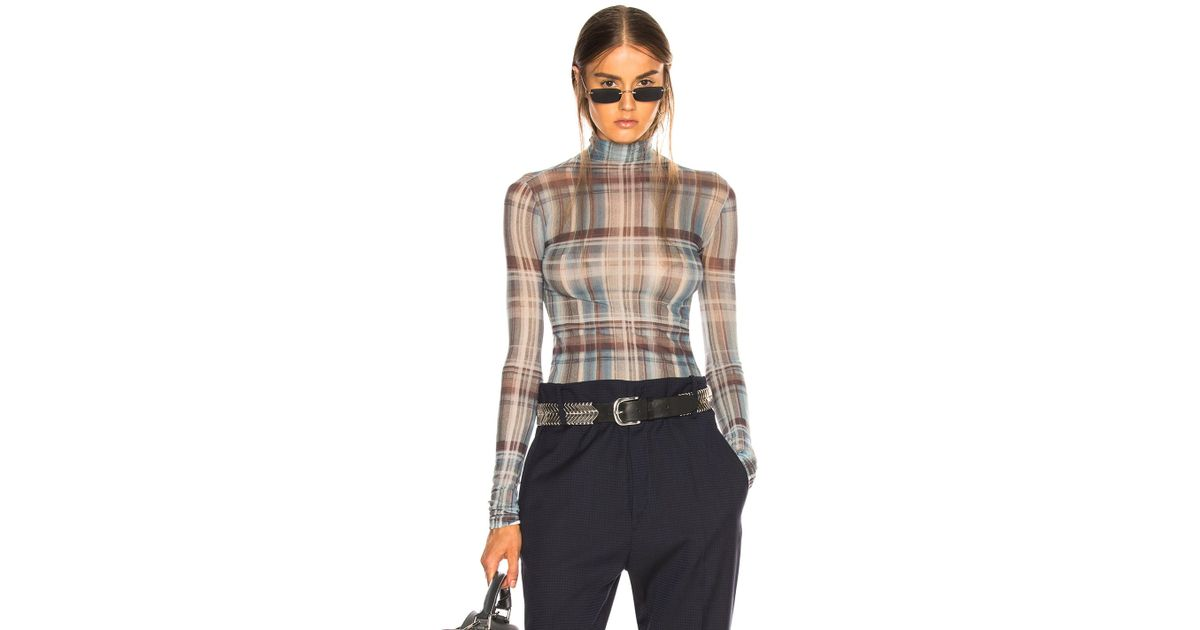 4a2d5c0c5f772b Lyst - Acne Studios Sheer Plaid Turtleneck Top