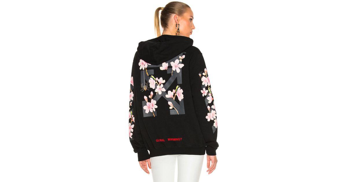 2c950fc21ea0 Lyst - Off-White c o Virgil Abloh Cherry Blossom Diagonal Hoodie In Black  Multi in Black