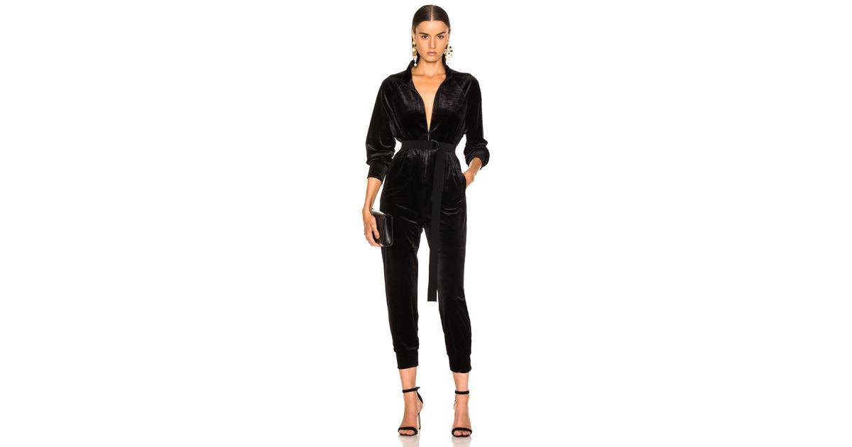 8b5691b7f5d Lyst - Norma Kamali Turtle Raglan Velvet Jumpsuit in Black