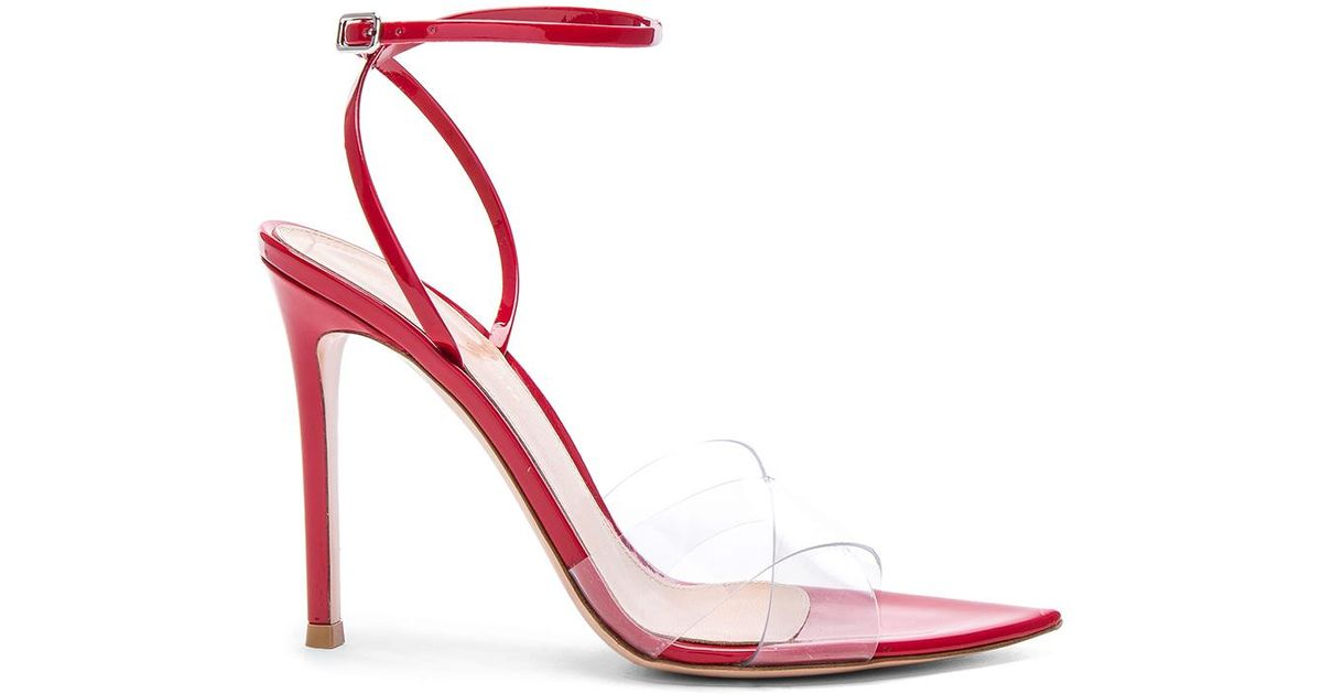 028298316d8 Gianvito Rossi Patent   Plexi Stark Ankle Strap Sandals in Red - Lyst