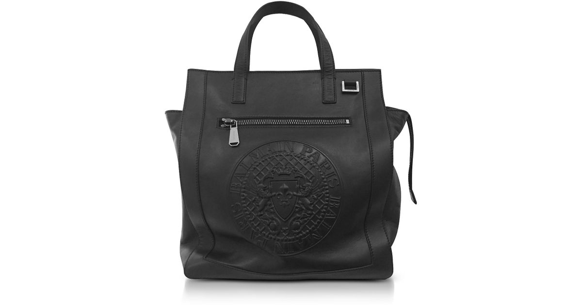 14e3bf17936c Lyst - Balmain Black Smooth Leather Men s Square Tote Bag W embossed Blazon  in Black for Men