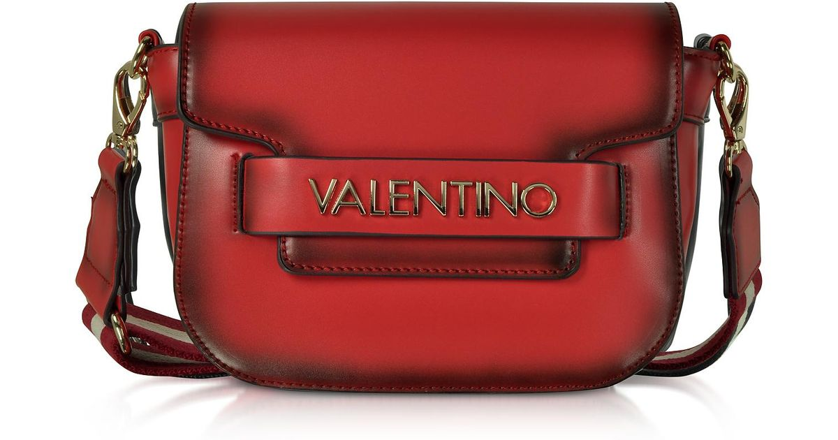 Lyst - Valentino By Mario Valentino Eco Leather Blast Small Shoulder Bag  W canvas Strap in Red 3fb27b78b5317