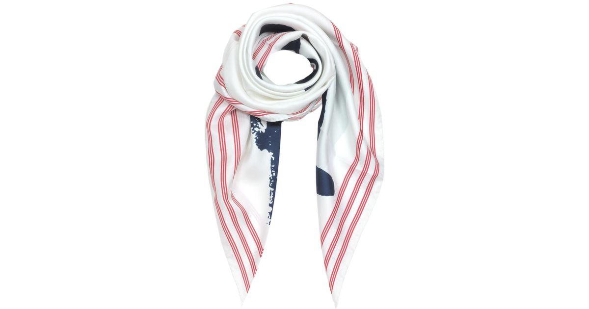 3e915f7ef39 Lyst - Kenzo Signature Pure Silk Square Scarf in White