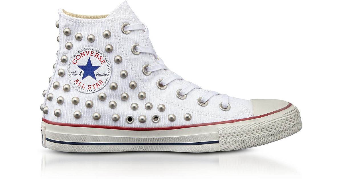 4f7e95e30677 Lyst - Converse Chuck Taylor All Star High White Studded Canvas Snekakers  in White
