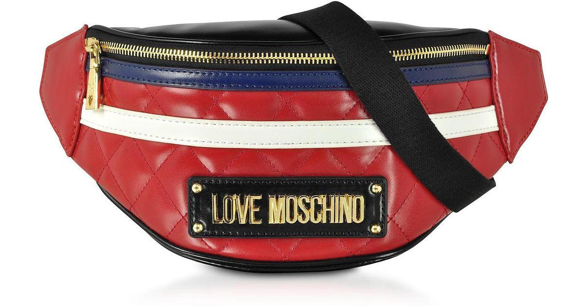 830d6321cd Love Moschino Color Block Quilted Eco-leather Belt Bag in Red - Lyst