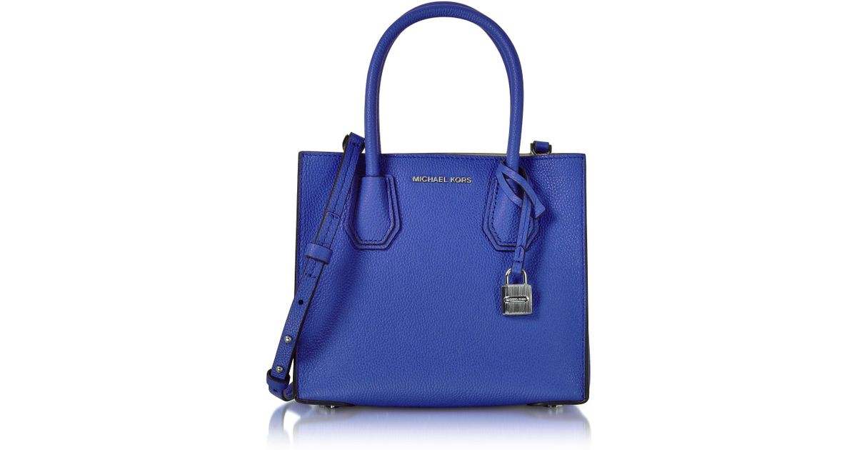 20494683ccea Michael Kors Mercer Medium Electric Blue Pebble Leather Crossbody Bag in  Blue - Lyst