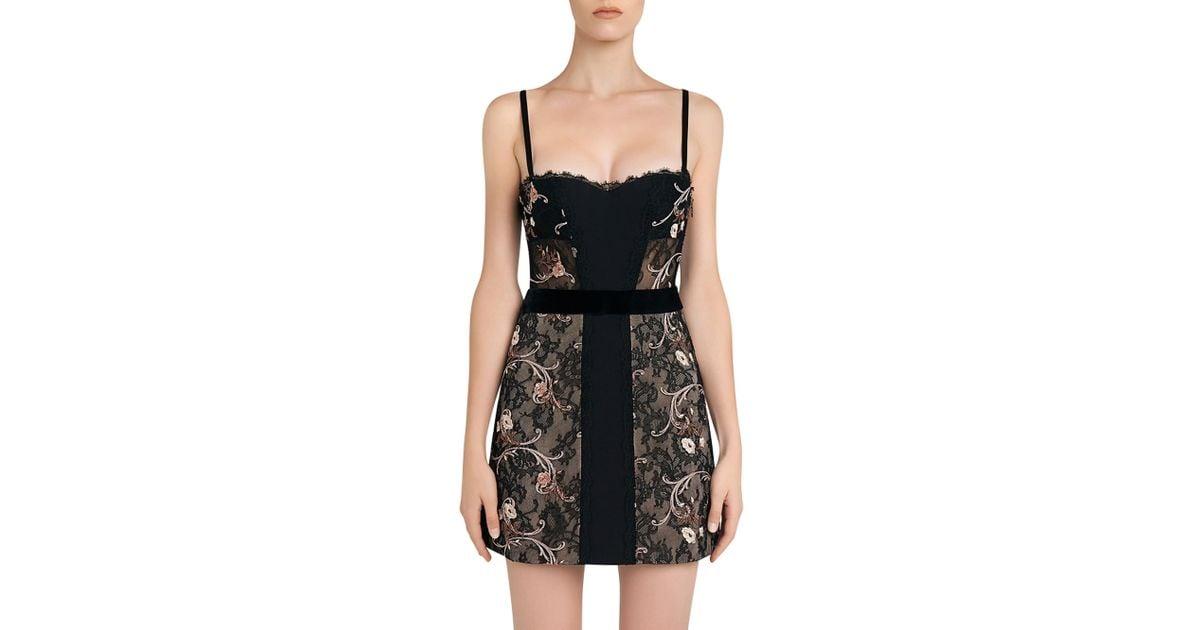 0ee14cf5f84 Lyst - La Perla Hampton Court Black Silk Georgette And Embroidered Leavers  Lace Corset Dress in Black