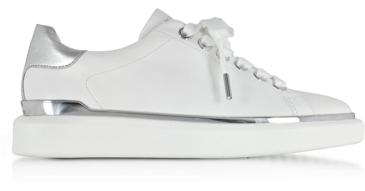 e6faba3a98d Michael Kors Max Optic White Nappa Leather Lace Up Sneakers in White - Lyst