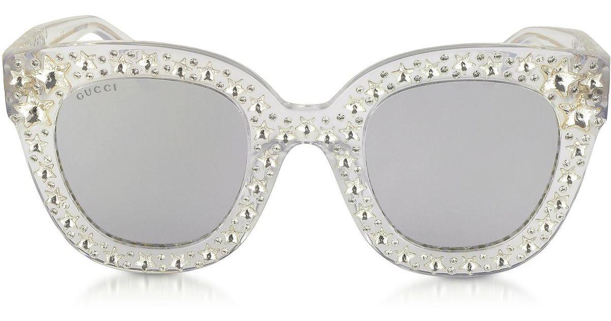 027d9cc7d38e4 Gucci Gg0116s Acetate Cat Eye Women s Sunglasses W stars in Gray - Lyst