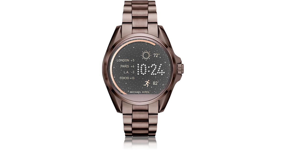 4fd762934a05 Michael Kors Sable Stainless Steel Bradshaw Women s Smartwatch in Brown -  Lyst