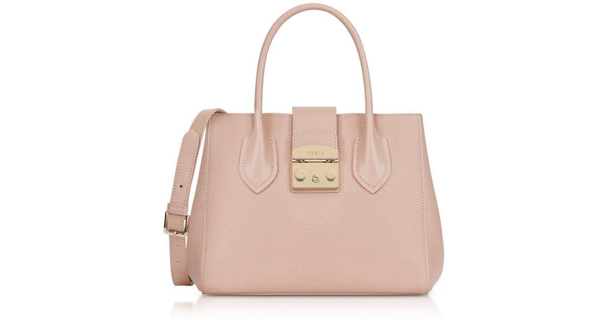 932b49e29c Lyst - Furla Moonstone Leather Metropolis Small Tote Bag in Pink