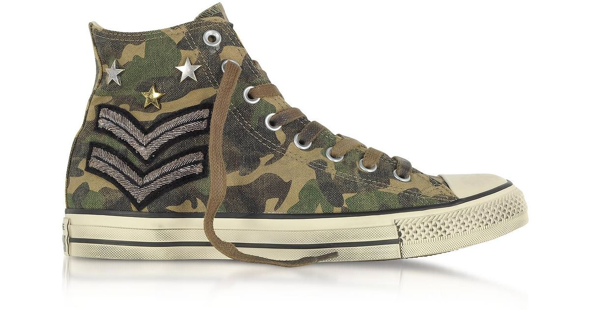 e3ef30843fc1 Lyst - Converse Chuck Taylor All Star High Military Patchwork Canvas Ltd  Unisex Sneakers in Green