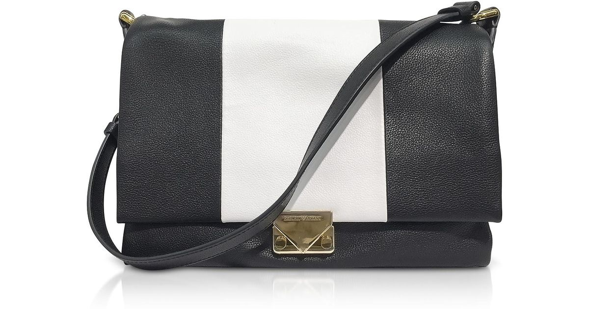 434ccec9e7e Lyst - Emporio Armani Color Block Leather Shoulder Bag in Black