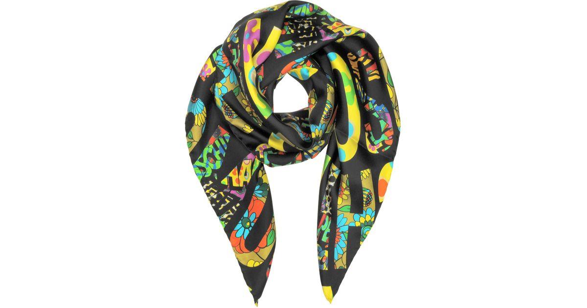 7d75591bc31 Lyst - Moschino Black   Multicolor Signature Print Twill Silk Square Scarf  in Black