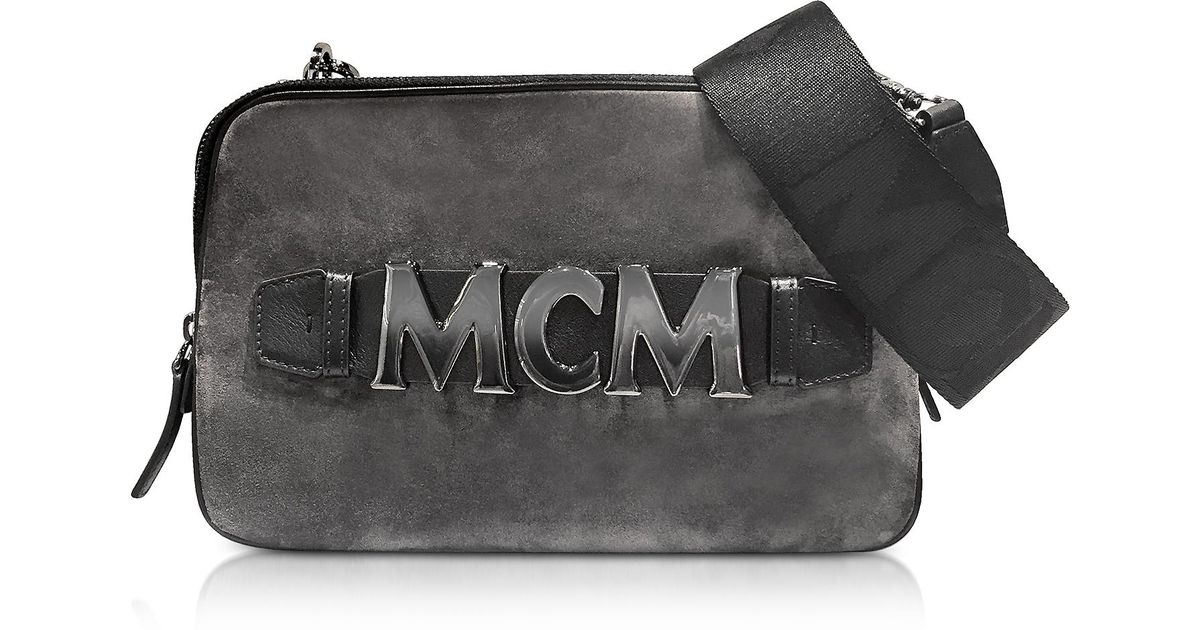 Lyst - MCM Cubism Suede Crossbody Bag Medium Phantom Grey in Gray - Save 47% a7efa0086653c