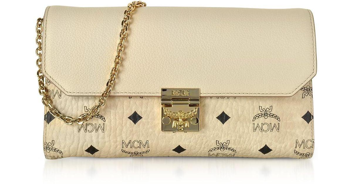 691be1500 Mcm Medium Born Beige Millie Visetos Leather Block Flap Crossbody Bag in  Natural - Lyst