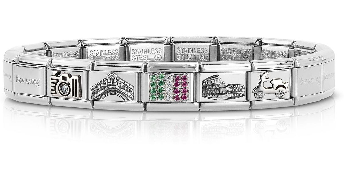 Lyst - Nomination Travel In Italy Sterarling Silver And Stainless Steel  Bracelet W cubic Zirconia Italian Flag in Metallic for Men b2f7269fb248