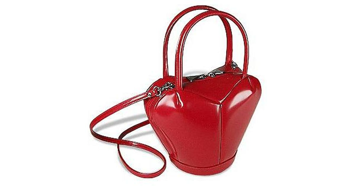 05ba169d0231b Fontanelli Italian Polished Leather Heart Bag in Red - Lyst